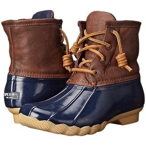 Sherry navy blue & brown duck boots size 8